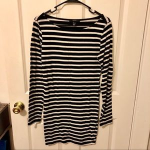 Adorable black and white striped midi dress